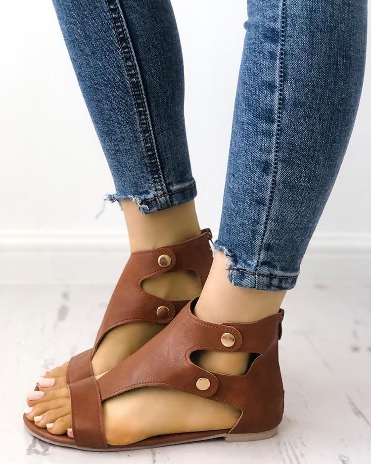 Fashion Cutout Buckle Metal Flat Sandals Fashion Cutout Buckle Metal Flat Sandals , Price : 28.99  Free Shipping & 30 days Easy Return.