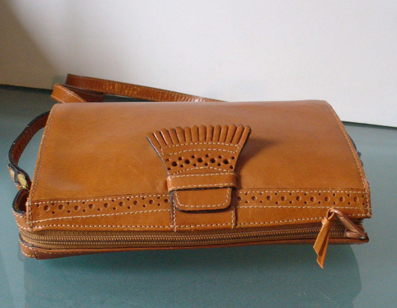 Vintage Perry Ellis Portfolio Caramel Shoulder Bag By Theoldbagonline On Etsy