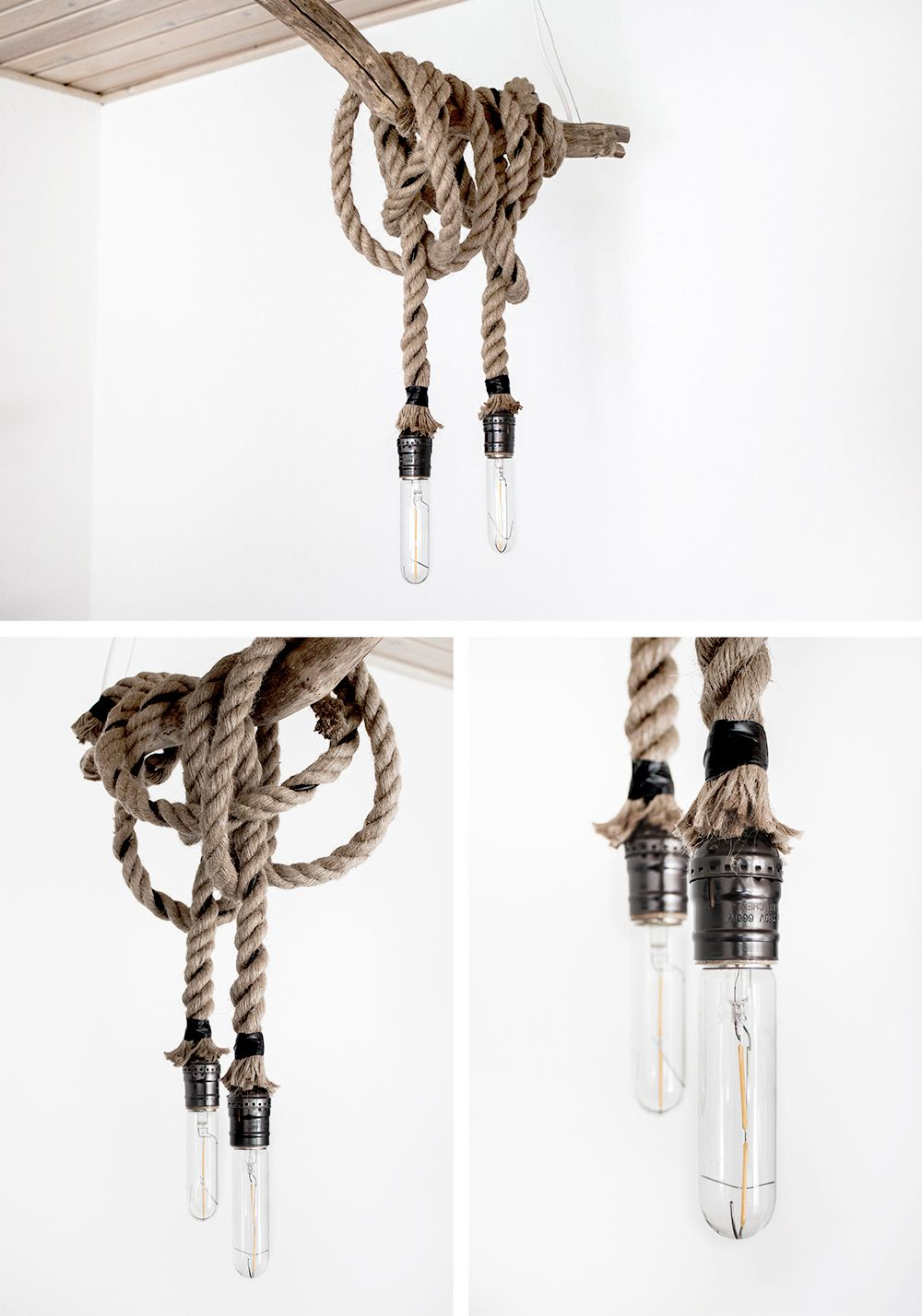 Diy Rope Pendant Light Lamp Diy Lamps Pinterest