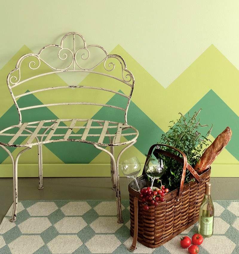 Wandgestaltung selber machen - mit Farben Muster streichen - wohnzimmer streichen muster