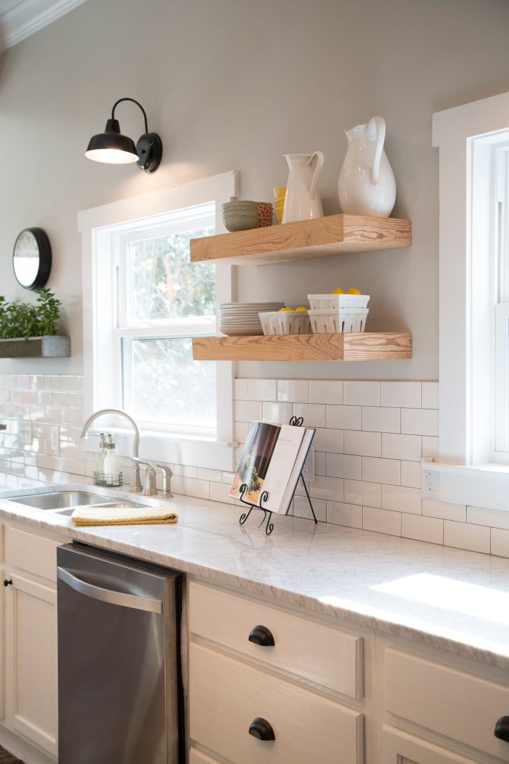 As seen on hgtvs fixer upper thursdays 1110c hg10wdg do like the subway tiles gooseneck lamp white kitchen cabinets white subway tile and walls painted sherwin williams mindful gray open shelving dailygadgetfo Choice Image