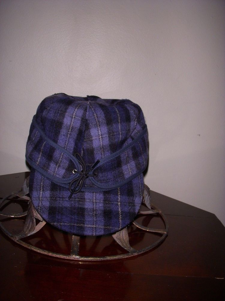1d9e7d63448 Stormy Kromer 100% Wool Cap Hat Blue Plaid - Size 7 1 2