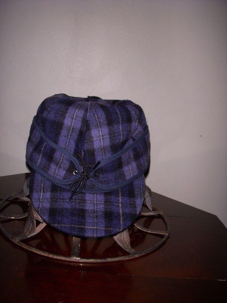 Stormy Kromer 100% Wool Cap Hat Blue Plaid - Size 7 1 2  b8137eb072ae