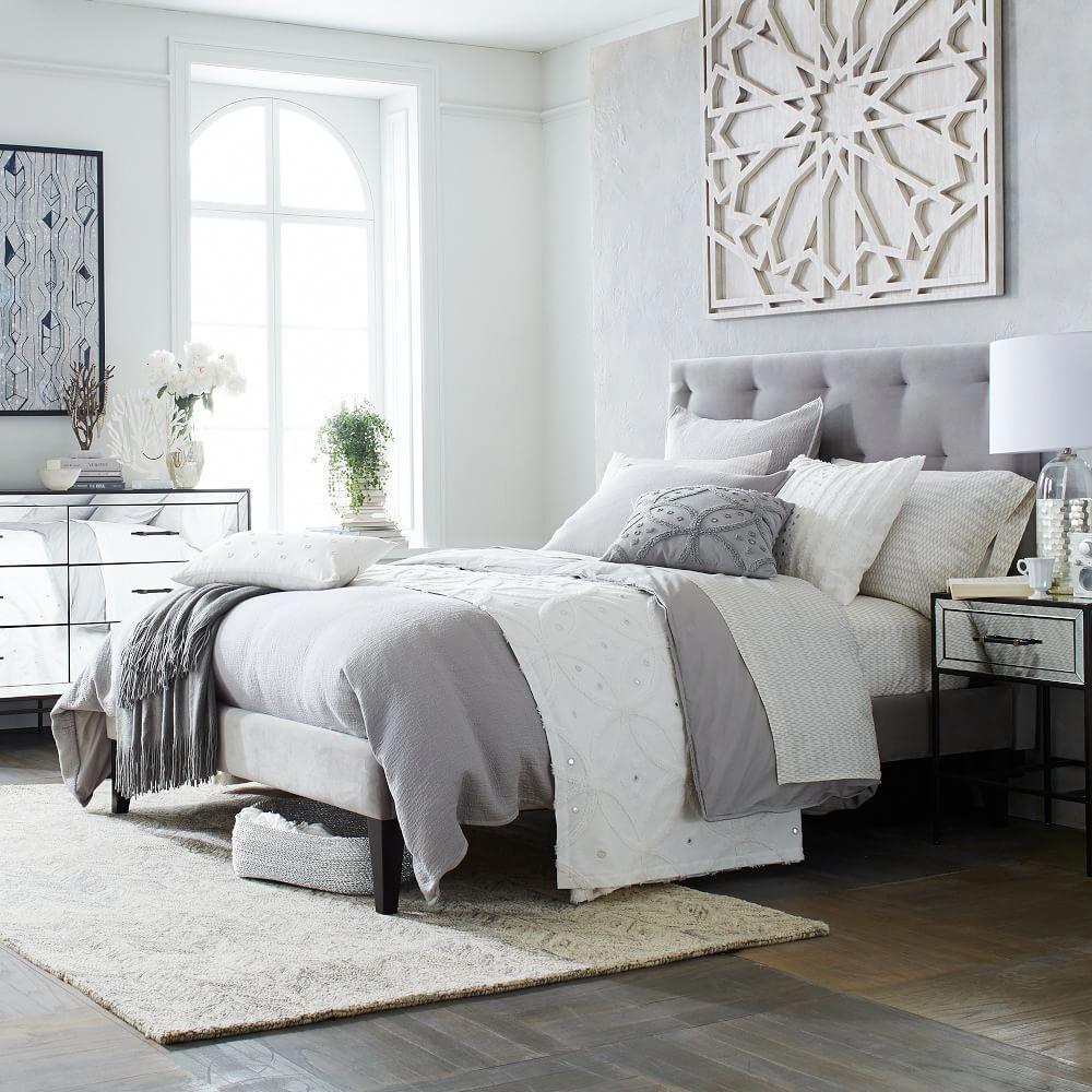 Diamond Tufted Headboard Guest Bedroom Decor Small Apartment