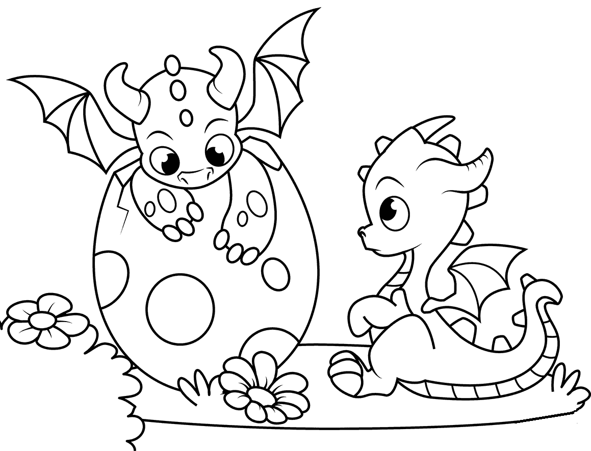 Baby Dragon Hatching Coloring Page Coloring Rocks Cute Dragon Drawing Dragon Coloring Page Dinosaur Coloring Pages