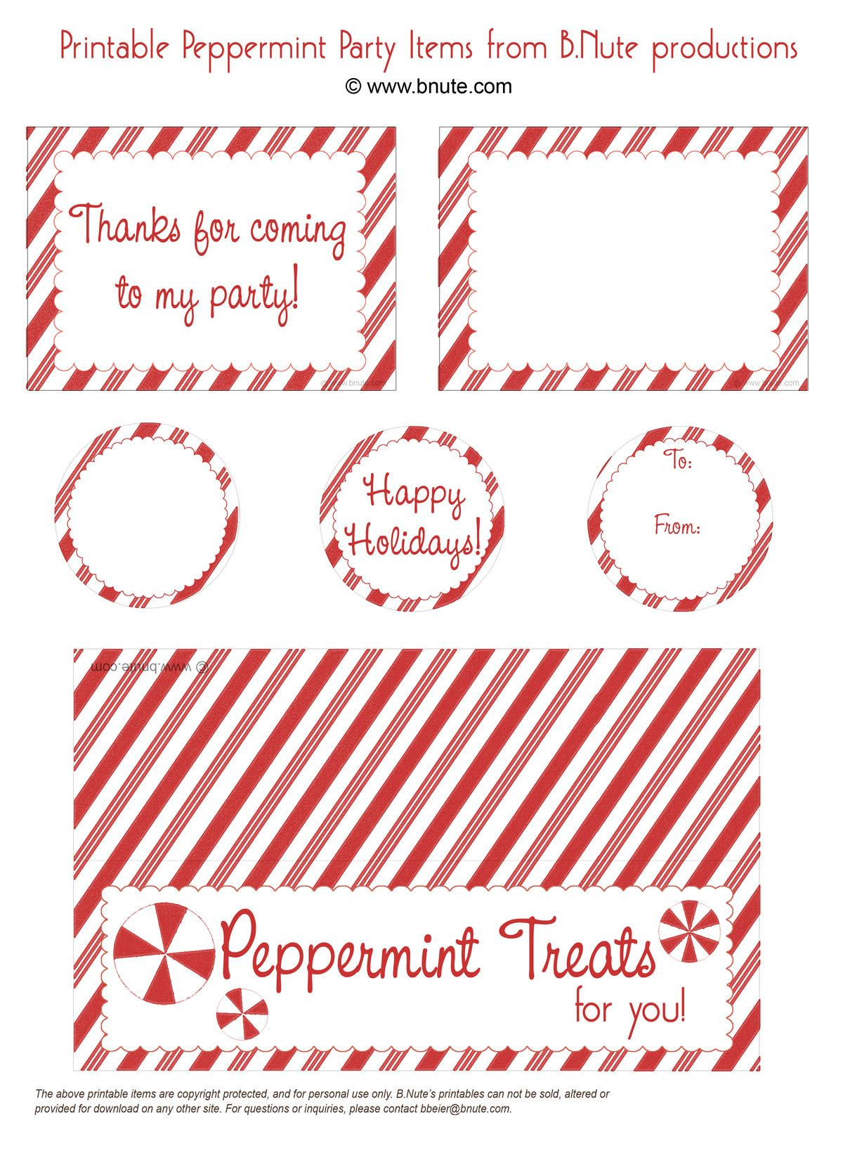 Free peppermint party printables menu cards tags candy bag free peppermint party printables menu cards tags candy bag labels negle Images