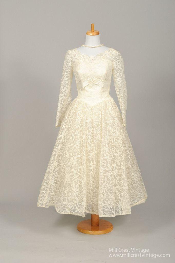 1950 Sequin Tea Length Vintage Wedding Dress | Tea length, Vintage ...