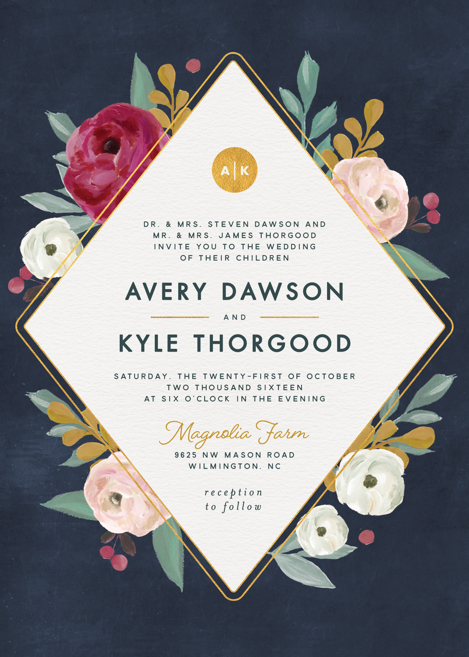 navy berry colors blush and gold painterly blooms wedding