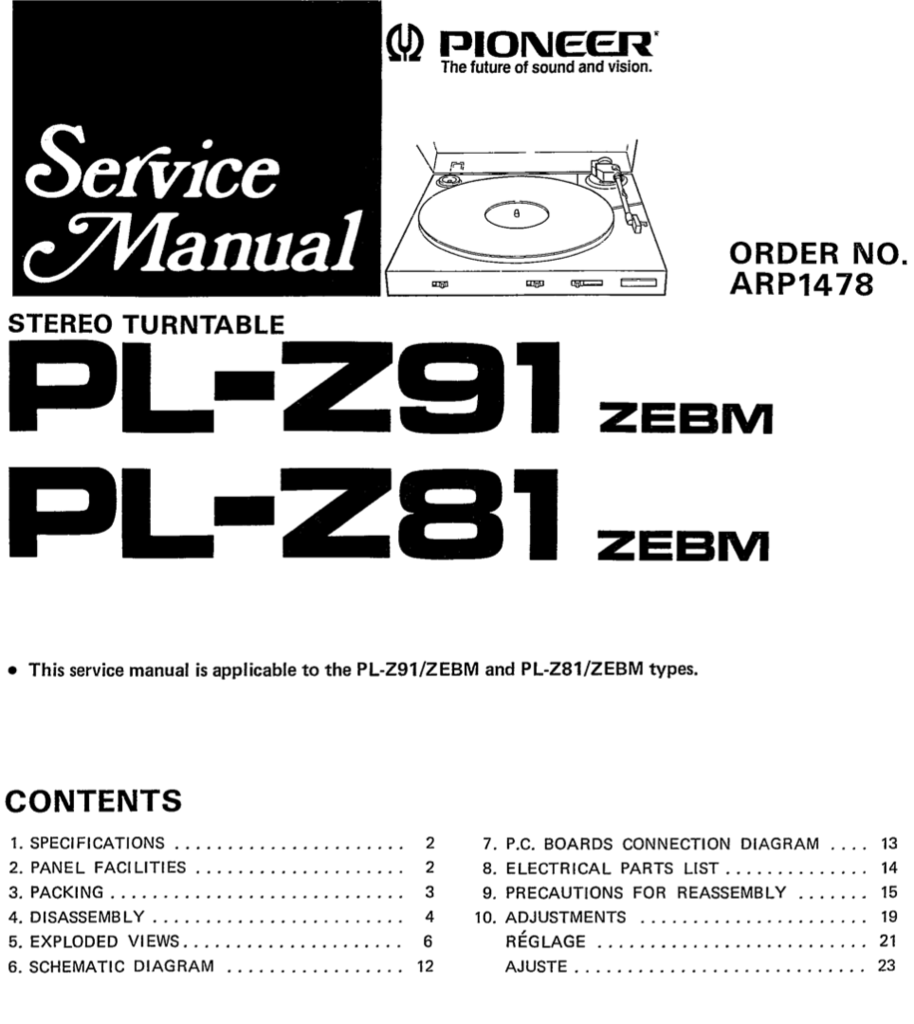 Pioneer PL-Z81 PL-Z91 Service Manual Manual, Digital, Products, Textbook