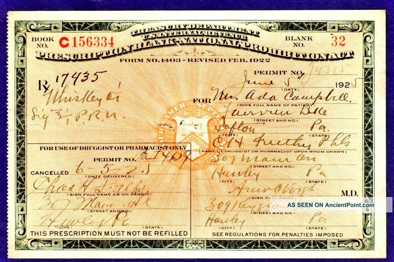 Old 65 1925 whiskey prohibition prescription doctor