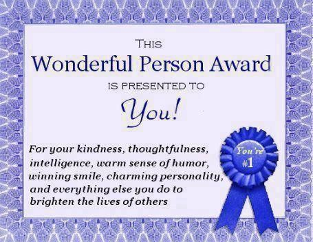 Wonderful Person Award You | You are wonderful, Wonder, Person