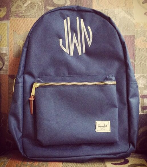 Did I ever show y'all my backpack?? Navy Herschel Supply Co. Settlement backpack with gray initials!!