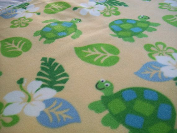 Turtles and Flowers Fleece Blanket MADE to by NorthwoodsNiche, $34.95