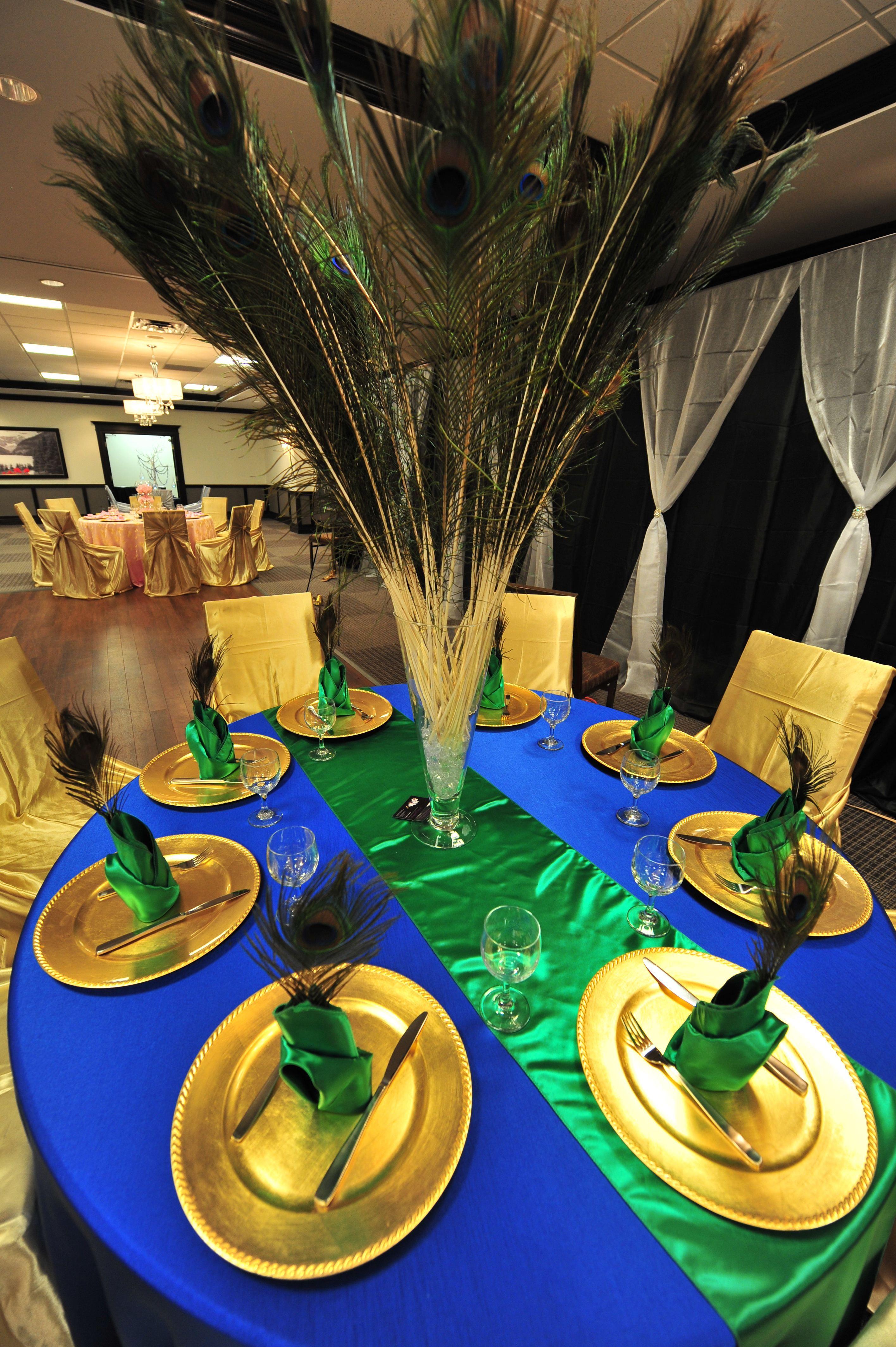 Peacock Themed Table Decor