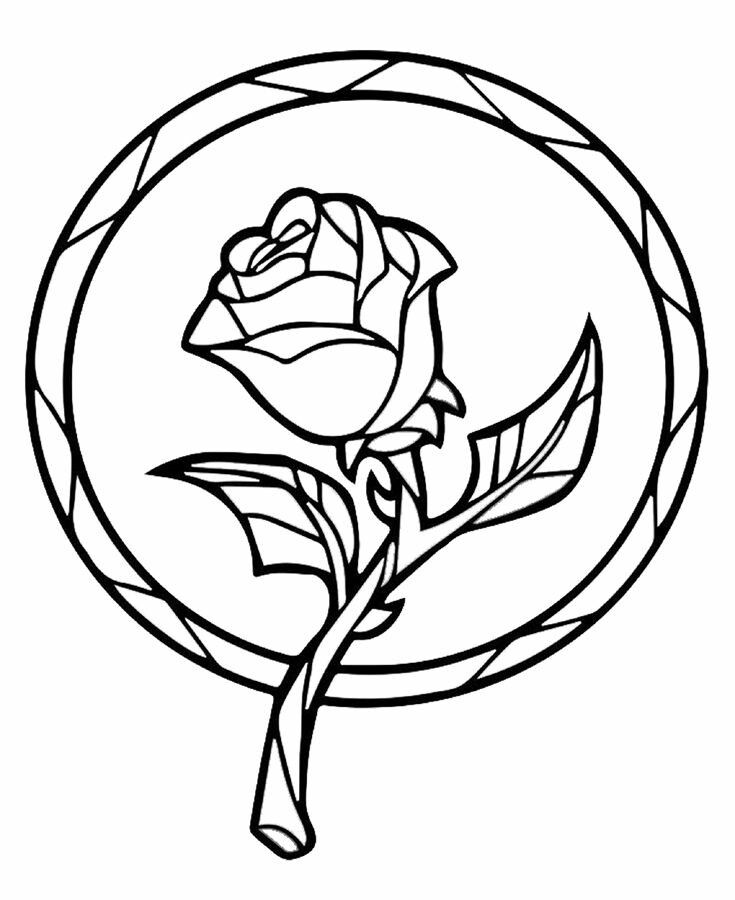 Beauty And The Beast Rose Coloring Pages Pinterest Stained