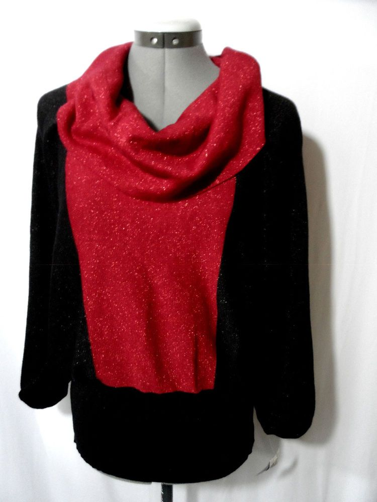 Nwt STYLE&CO. Metallic Dolman Cowl Sweater Top women RedBlack color Block Dressy #Styleco #DOlamnpullovercowlmetallicdolman