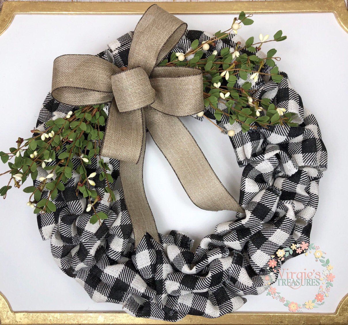 Photo of Buffalo Plaid Burlap Wreath, Front Door Wreath, Holiday Wreath, Farmhouse Christmas Wreath, Christmas Wreath, Winter Wreath