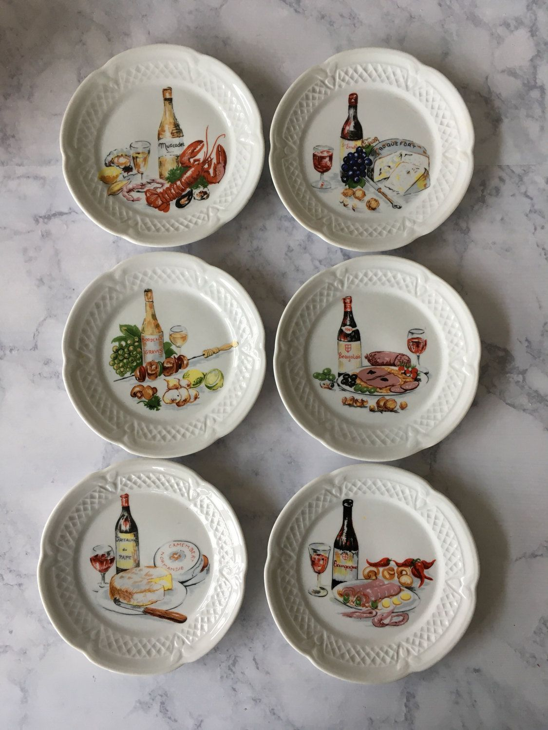 Vintage Philippe Deshoulieres Plates Wine and Cheese Canape Plates - set of 6 | French porcelain china appetizer plates | Made in France & Vintage Philippe Deshoulieres Plates Wine and Cheese Canape Plates ...
