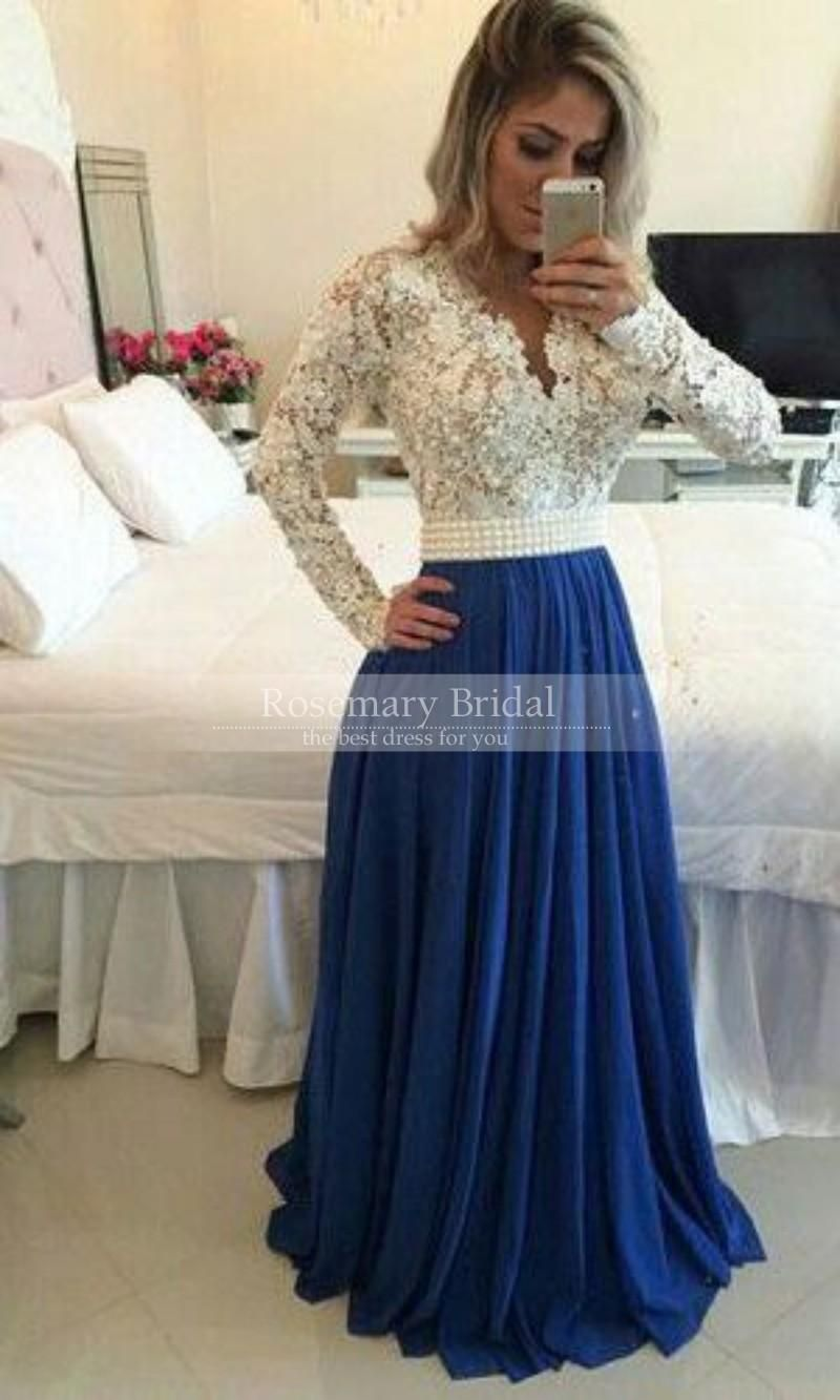 Unique Prom Dresses Uk Elegant 2016 Hot Style Lace Pearls Beaded A Line V  Neck Illusion Sexy Long Sleeve Prom Dresses  Gown Sleeves Custom Made Plus  Size ... e6343251eeb8