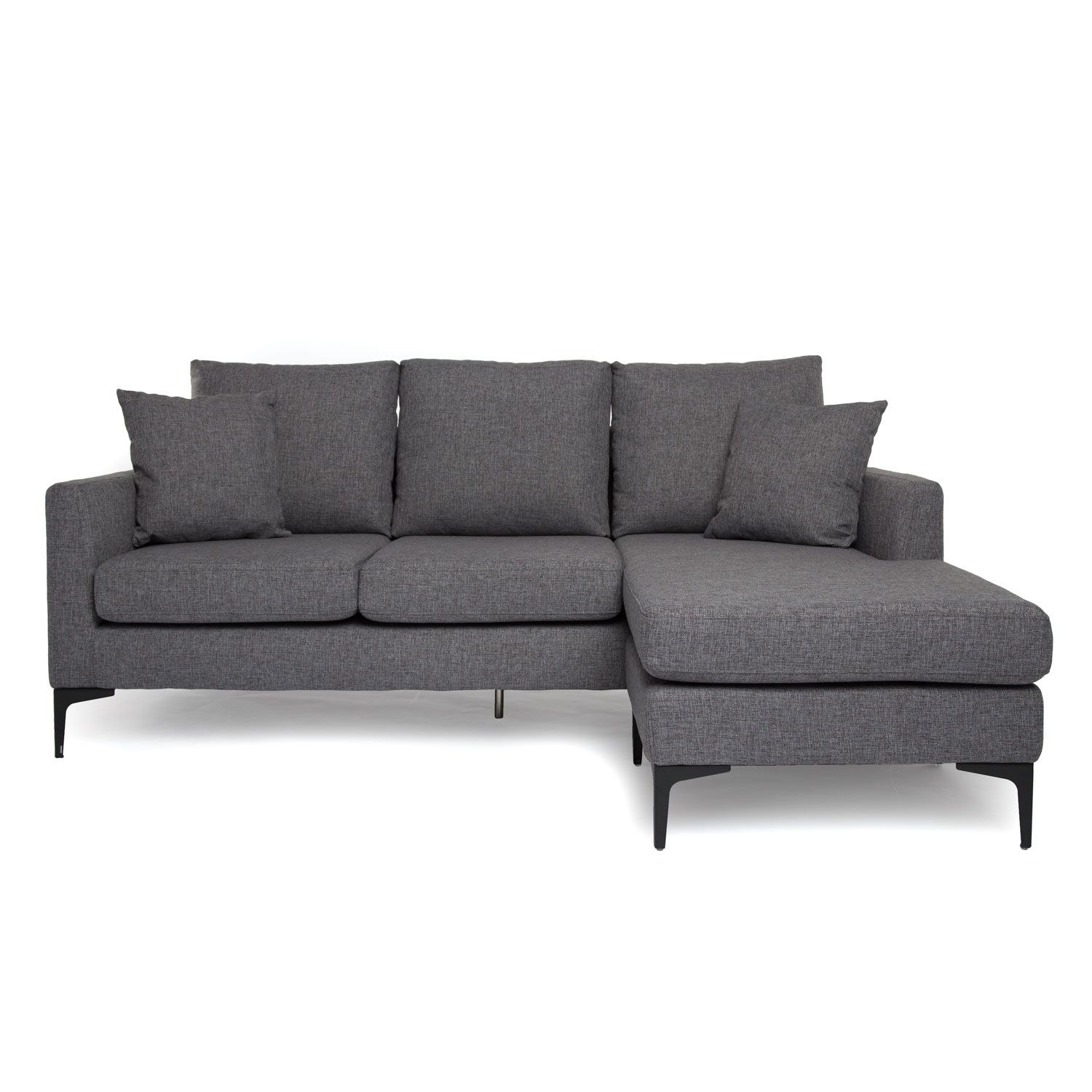 Condo Couches Piccolo Reversible Sectional Grey Fabric Modern