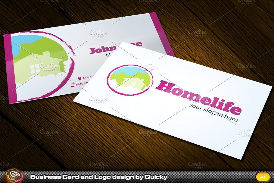 Homelife Business Card And Logo Business Cards Creative Templates Business Card Template Design Business Card Logo Design