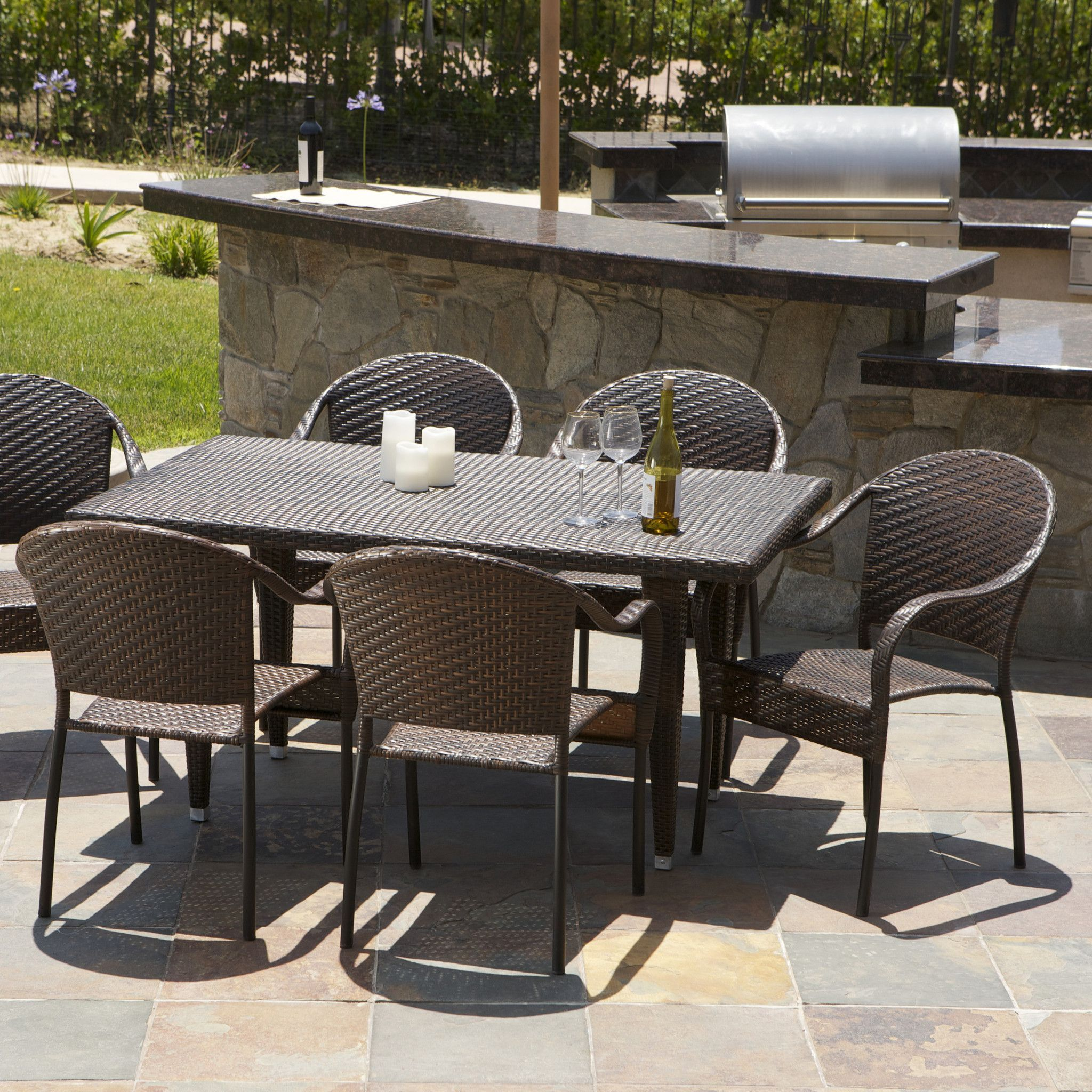 Livingston 7 Piece Wicker Outdoor Dining Set The Livingston 7 Pieces  Outdoor Wicker Dining Set