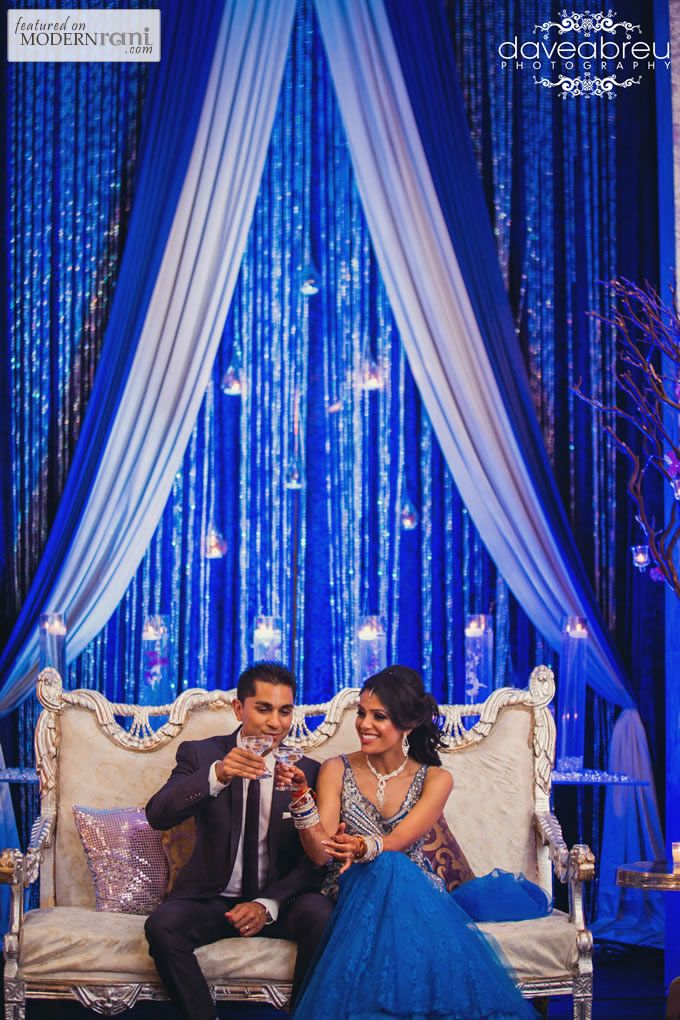 South Asian Indian Blue Wedding Reception - more inspiration @ http://www.ModernRani.com