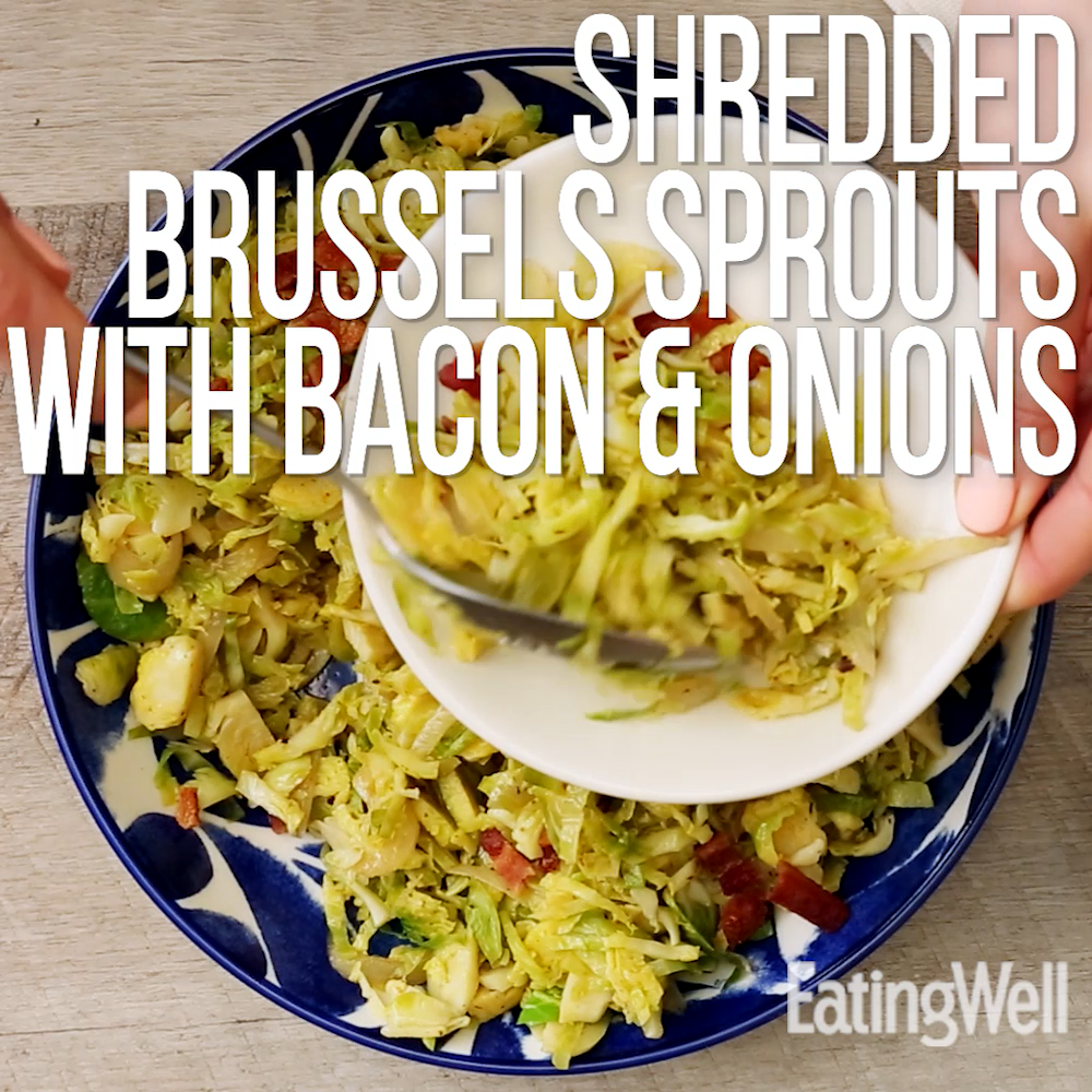 Shredded Brussels Sprouts with Bacon & Onions -