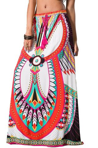 Womens Sexy White Black Geometric Tribal Print Ethnic Gypsy Long Boho Maxi Skirt