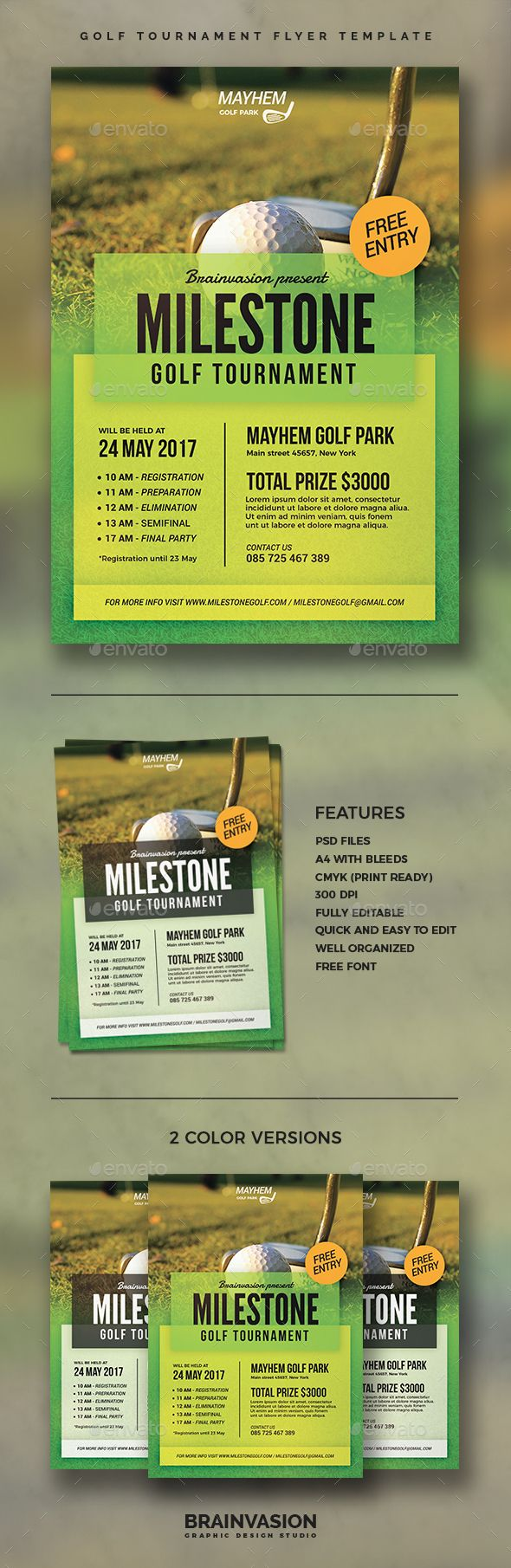 Golf Tournament Flyer Template Flyer Template Template And Fonts