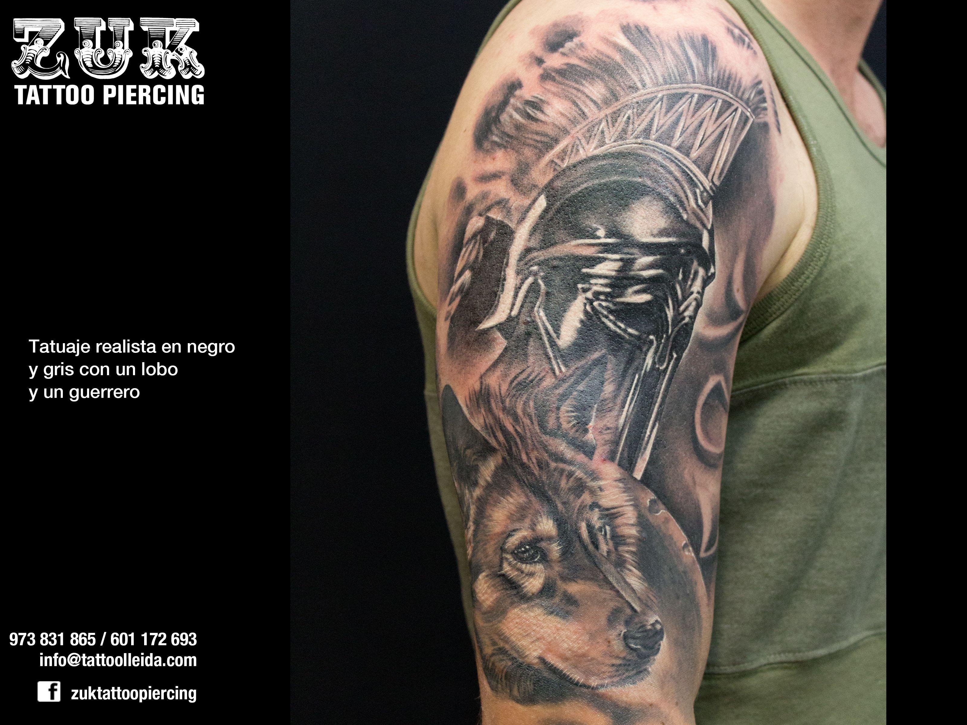 Tatuaje Realista En Negro Y Gris Con Un Lobo Y Un Guerrero Tattoo