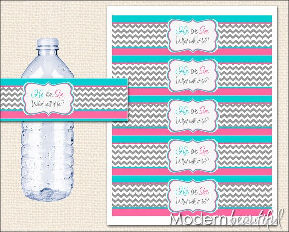 Instant Download Pink And Blue Gender Reveal Water Bottle Labels