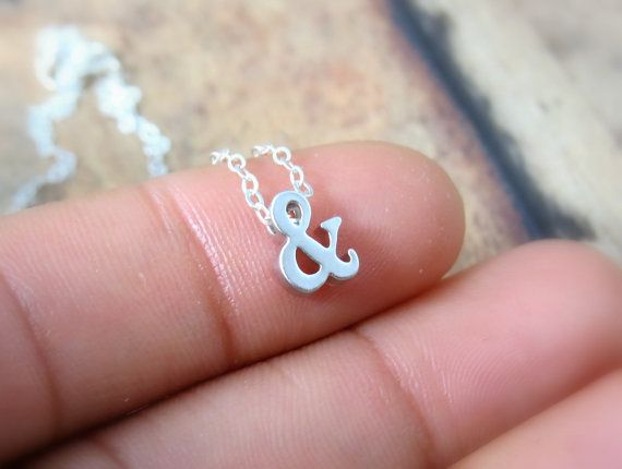 Ampersand necklace in silver, love.
