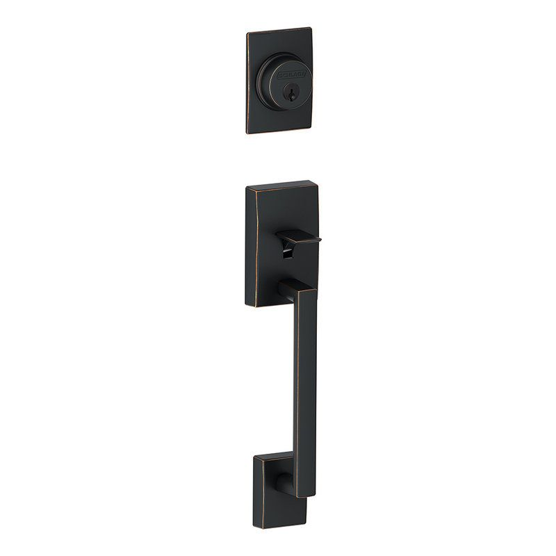Schlage F58CEN716 Aged Bronze Century Single Cylinder Exterior Entrance Handleset from the F-Series - Handlesets.com