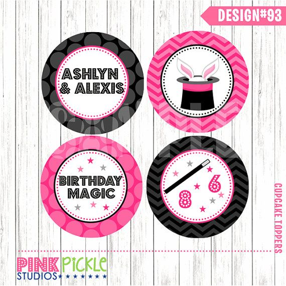 Magic Cupcake Toppers, DIY Cupcake Toppers, Printable Cupcake Toppers, Party Circles :No.93