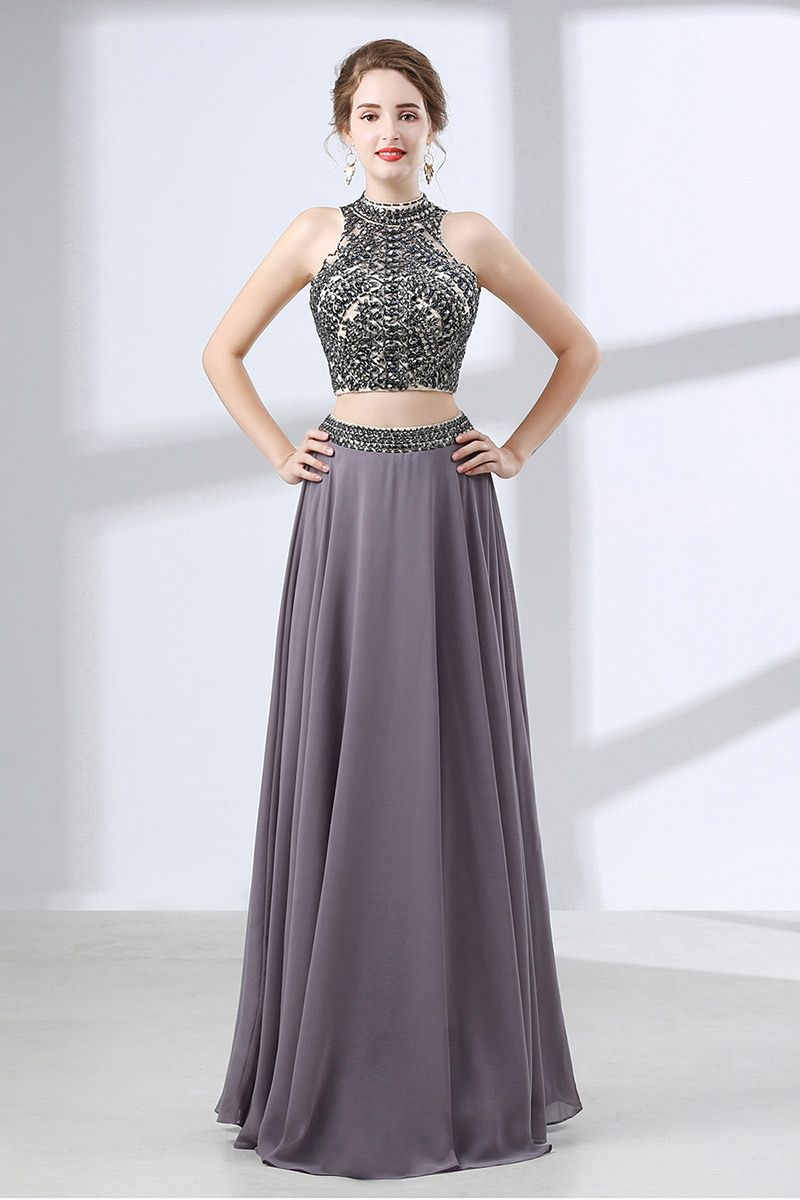 139 00 Two Piece Vintage Grey Formal Dress Long With Crystal Halter Top Ch6645 Gemgrace Com Prom Dresses Piece Prom Dress Formal Dresses Long [ 1200 x 800 Pixel ]