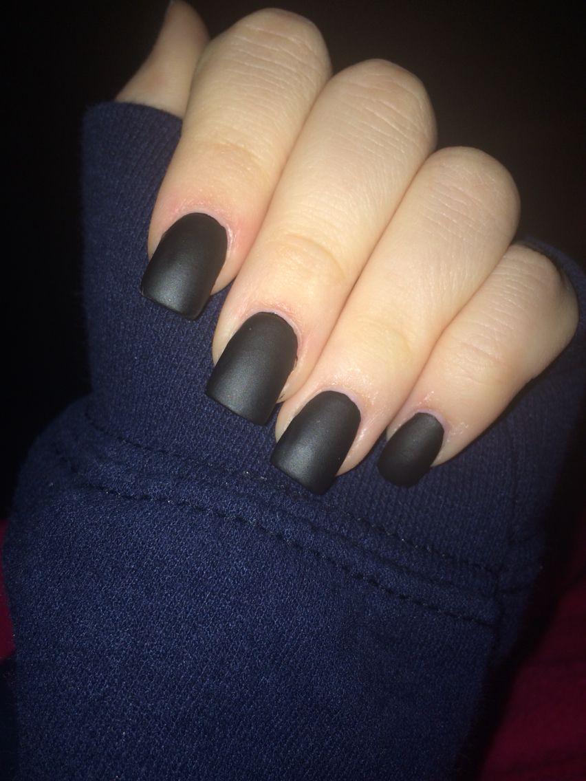 Matte Black Acrylic Nails | Nails | Pinterest | Black acrylic nails ...