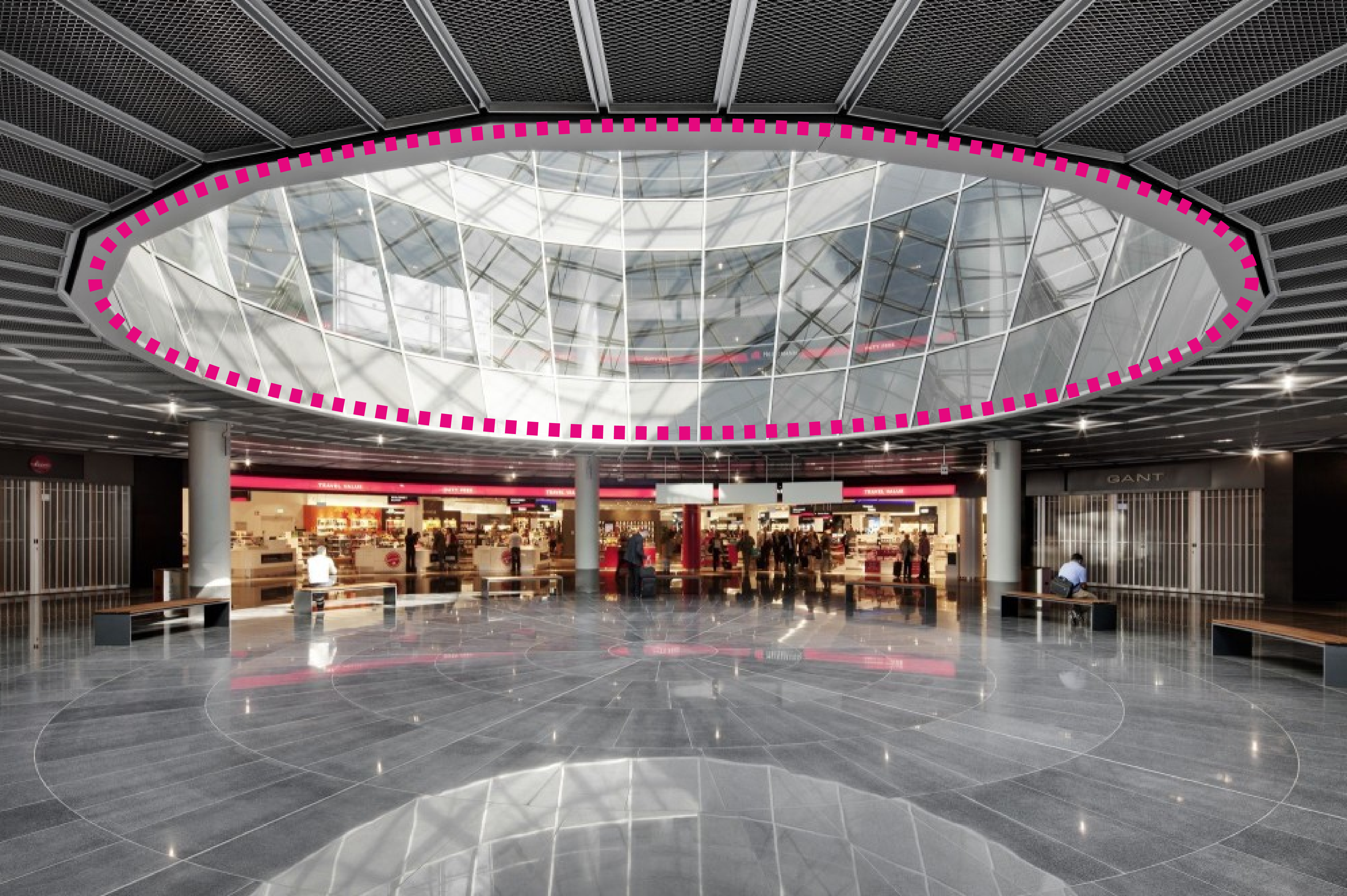 frankfurt airport / gmp Architekten / public space go through the whole space and programs surround the hole