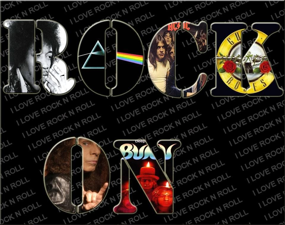 rock on classic rock band logo collage music