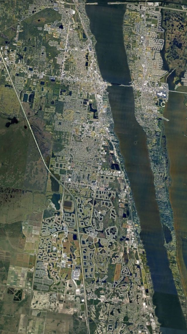 Satelital. From the Air. Palm Bay;Melbourne;Rockledge and