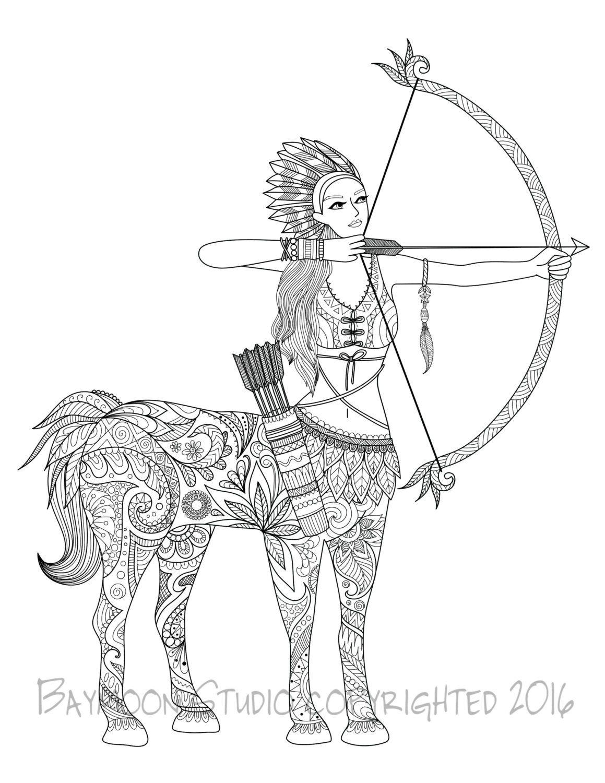 Centauro para colorear página páginas imprimibles por BAYMOONSTUDIO ...