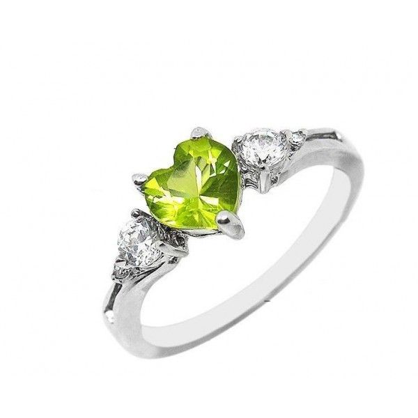 1 Carat Peridot Gemstone Engagement Ring On Silver