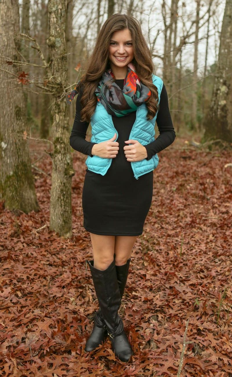 Snuggle By The Fire Puffer Vest-Aqua - $32.00
