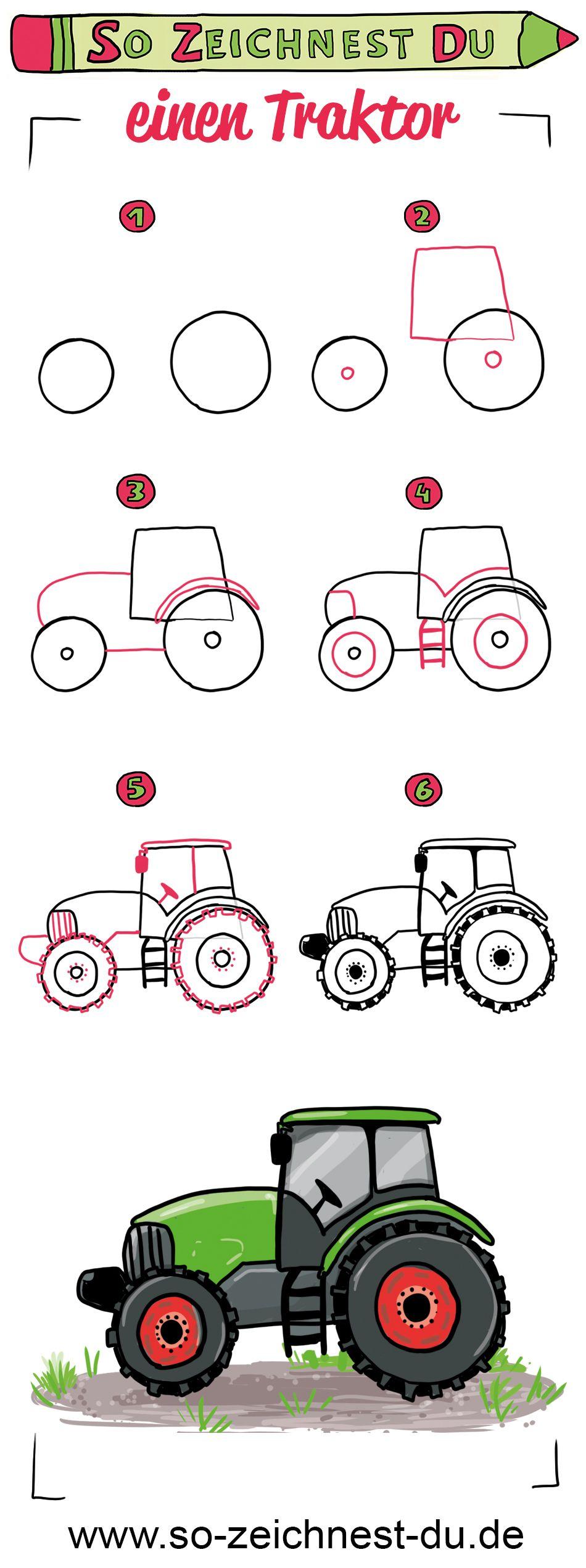 So zeichnest du einen Traktor. Mit unserer Zeichenschule zum Thema Bauernhof kannst du jetzt ganz einfach deinen eigenen Traktor zeichnen lernen. #sozeichnestdu #zeichnenlernen #traktor #zeichenschule #bemaltekieselsteine