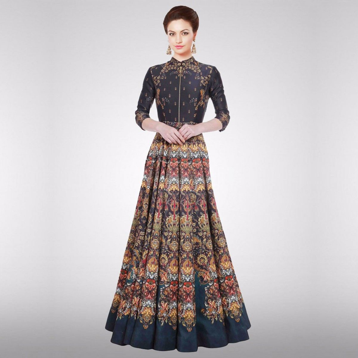 Buy Multi Color Digital Printed Gown for womens online India, Best Prices,  Reviews -