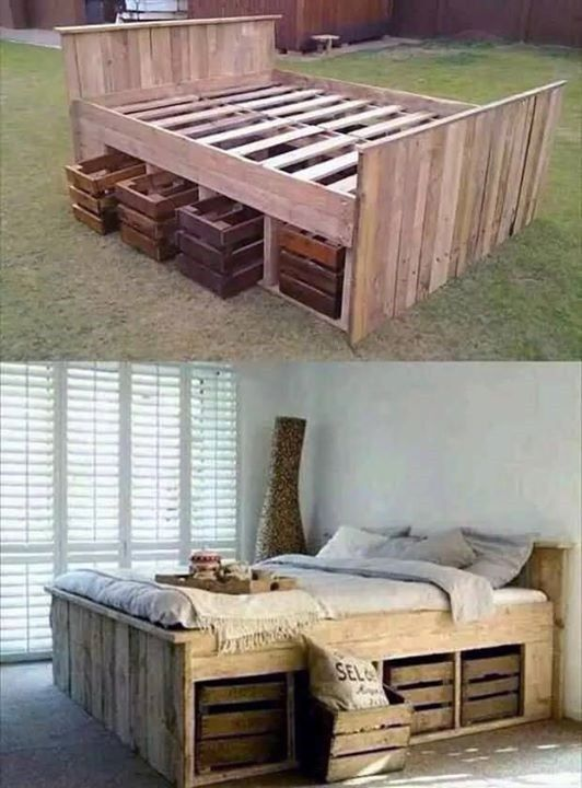 Plank headboard and footboard with underbed storage.   machimbre ...