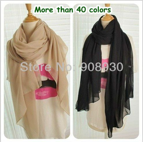 Hot sale !Plain Color Women Voile Maxi Hijab/Scarf /Shawl/muslim scarf  Female Pure Design 180*110cm Soft Touching Wholesale-in Scarves from...