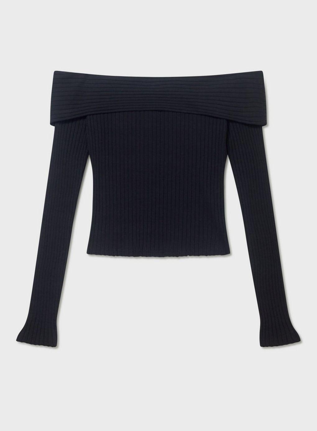 be59f7a2d55a6 Black Long Sleeve Jumbo Ribbed Bardot Top - Tops - Clothing - Miss Selfridge