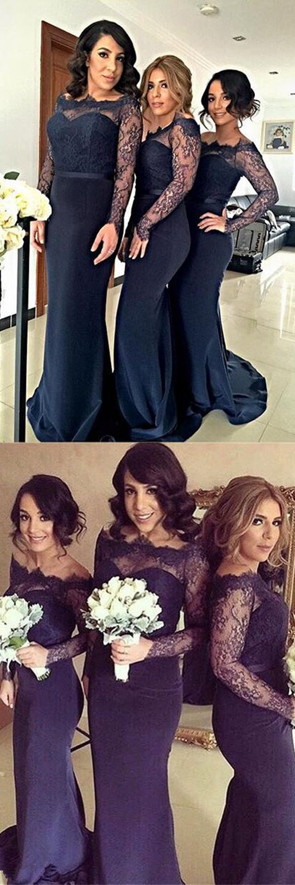 Mermaid offtheshoulder sweep train navy blue satin bridesmaid
