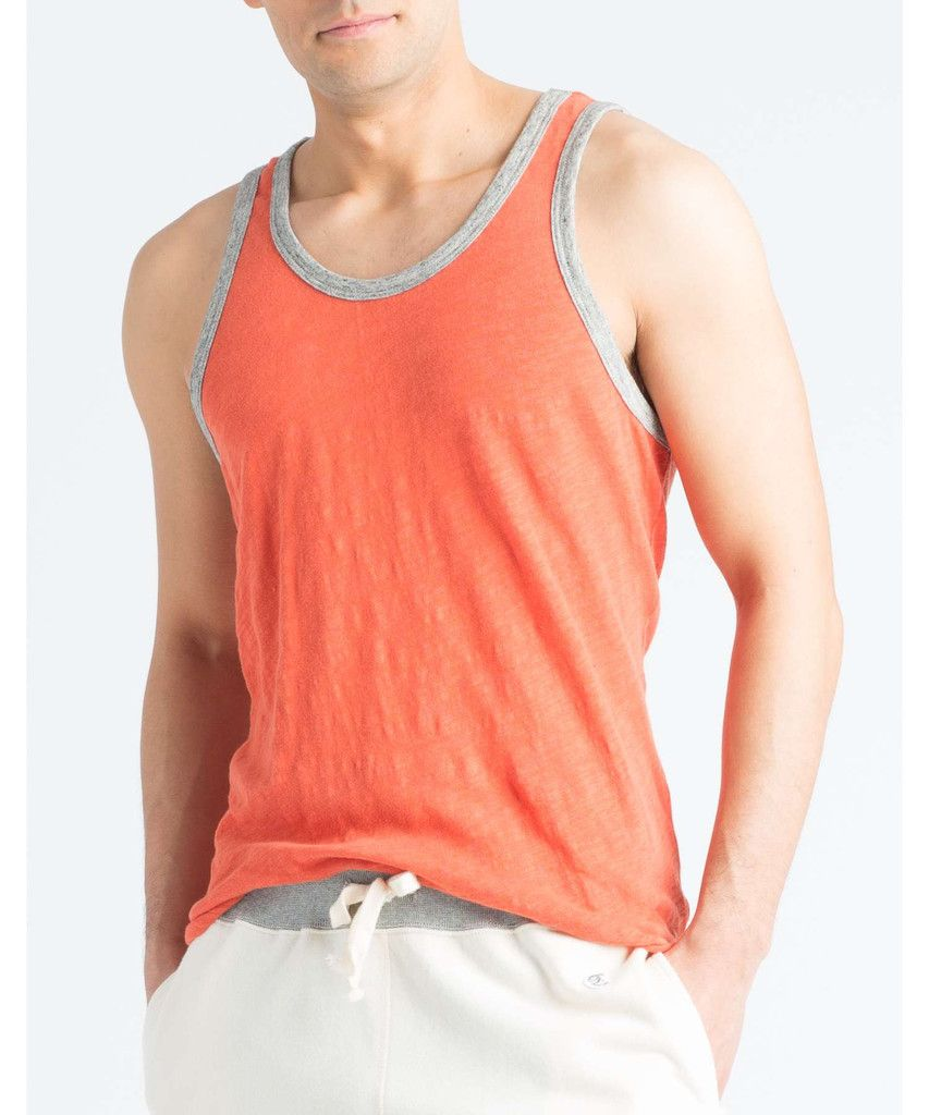 d1c88ebfbd0bf Solid Ringer Tank Top in Rusty Orange by Todd Snyder
